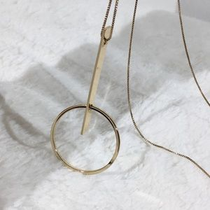 Long Gold tone Necklace with pendant